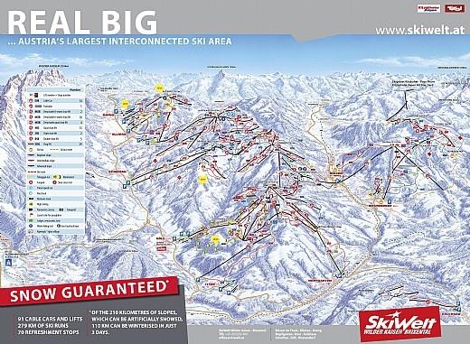 Skiwelt - Wilder Kaiser Brixental Ski Area in Austria.