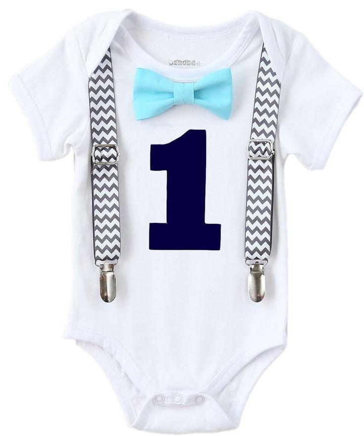 Cake Smash Outfit Boy Grey Navy Aqua - Chevron - Aqua Pants - Boys First Birthday Outfit - Set - Suspenders Bow Tie - Photo Prop - 1st - Noah's Boytique