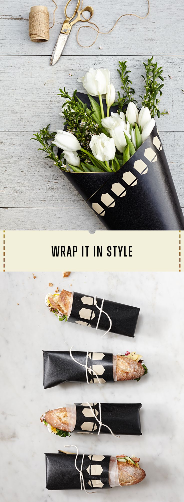 Repurpose your paper table runner to wrap sandwiches and floral bouquets. Unexpectedly beautiful.