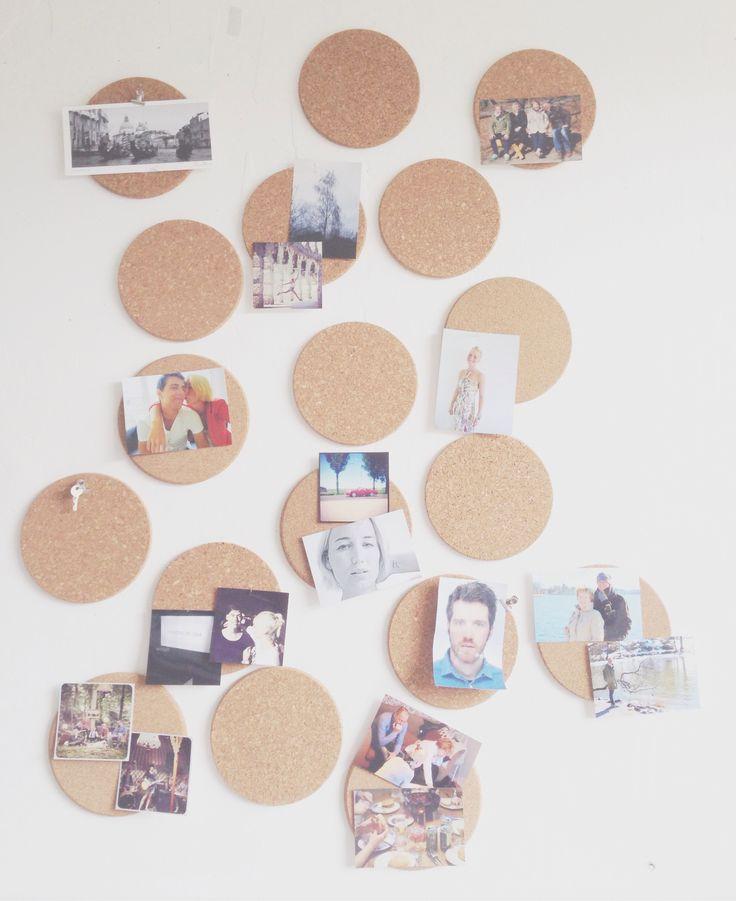 Afbeeldingsresultaat voor ronde onderzetters kurk op muur