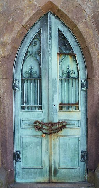 gorgeous colour I love when blue paint is rustic and worn  door is from a cemetery mausoleum