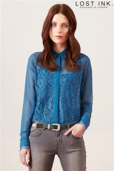 Lost Ink Lace Collared Shirt - good colour