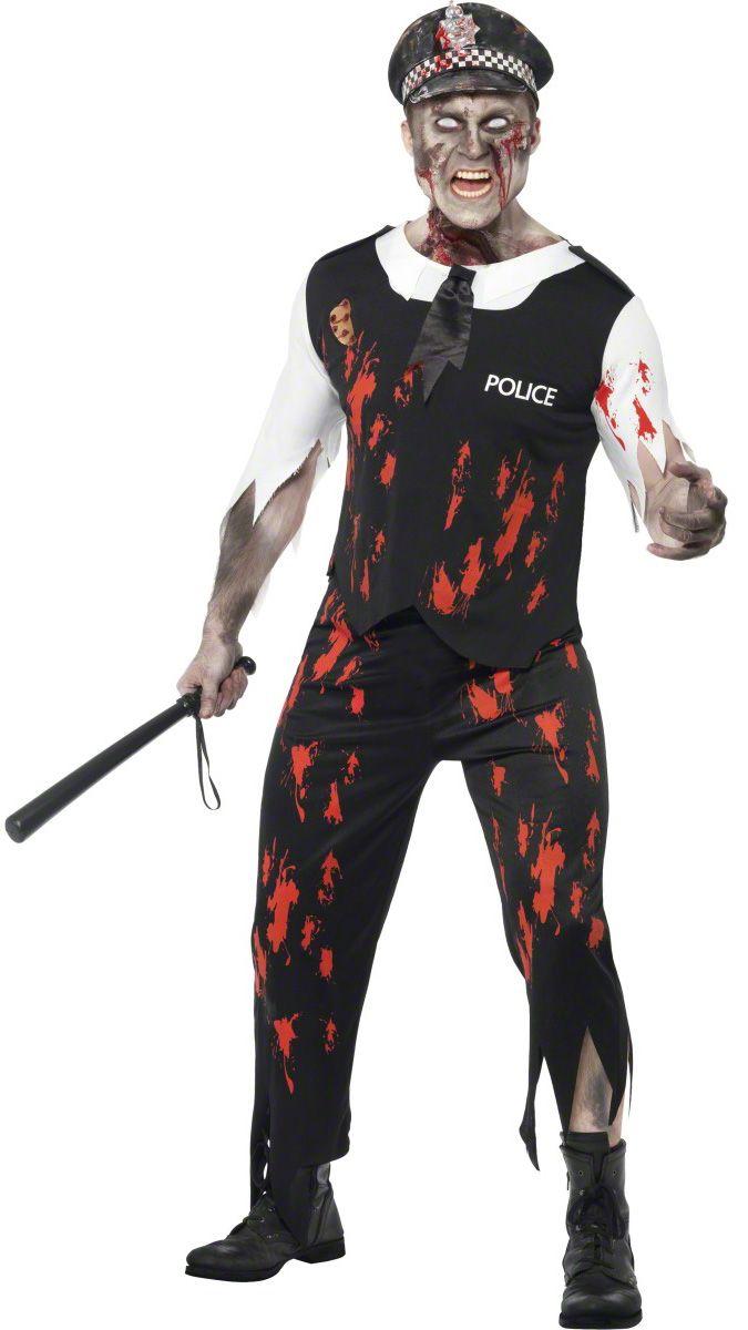Costume poliziotto zombie adulto Halloween uomo: Travestimento poliziotto zombie Halloween per uomo composto da t-shirt a maniche corte bianche e cravatta nera tagliata cucita al top e berretto abbinato. Pantalone nero abbinato con elastico in vita...