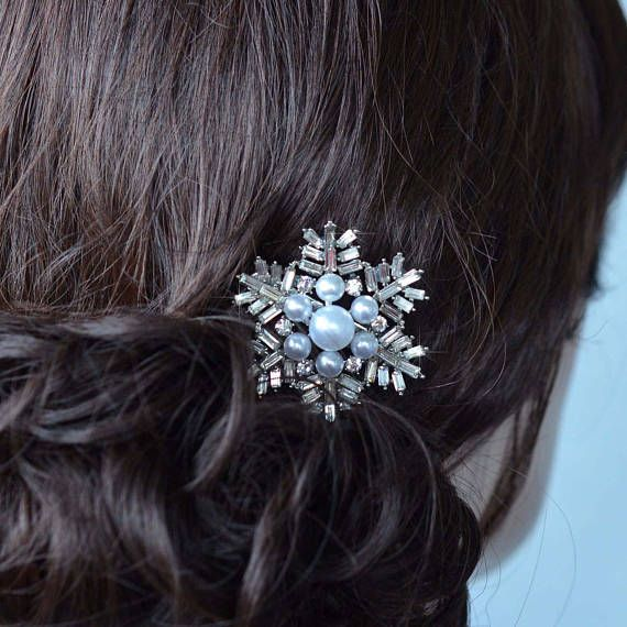 Handmade Fancy Cut Crystal Rhinestone and Pearl Bridal Snowflake Hair Clip, Bridal, Wedding (Pearl-868)