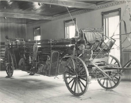 Fire Department horse-drawn fire equipment from Dayton Fire Department, Hook Ladder and Hose Company No. 12, northeast corner Linden and Huffman Avenues, August 1905. From Dayton Metro Library collection.