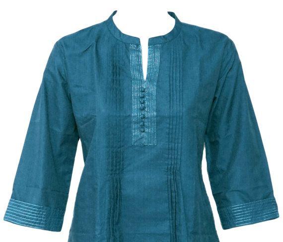 Ethnic Indian Cerulean Pleated Cotton Top / Kurthi / Kurta / Kurti / Kurtha / Tunic  Silver Thread Lines SHORT LENGTH All Sizes on Etsy, $10.99
