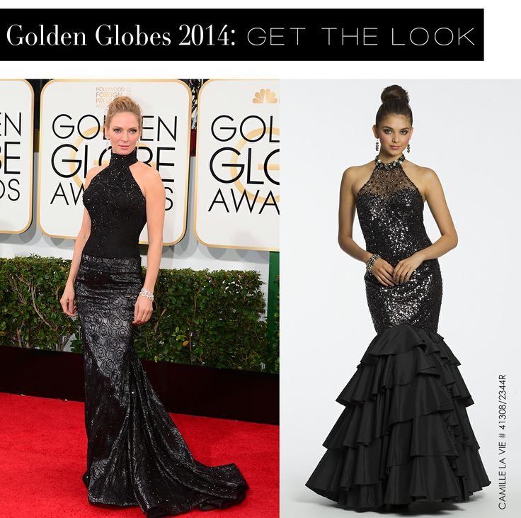 Uma Thurman at the Golden Globes 2014 and the Camille La Vie dress version for less