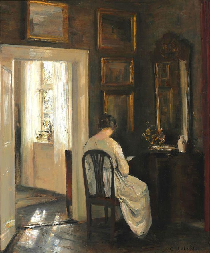Интерьер с читающей женой художника_50 х 42_х.,м._Частное собрание Карл Вильхельм Холсё (Carl Vilhelm Holsøe), 1863-1935. Дания