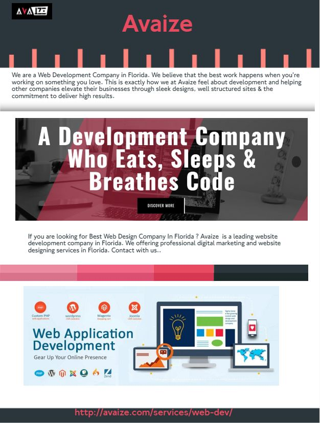 You Are Searching Web Development Firm Florida Avaize Is A Leading Website Development C Web Development Web Development Company Website Development Company