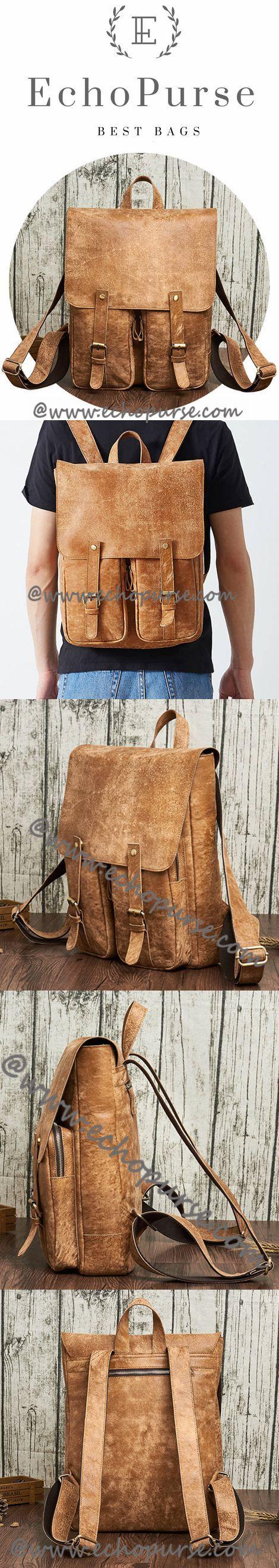 Mens Handcrafted Real Leather Vintage School Backpack, Shoulder Bag, Travel Bag Large NMW6355