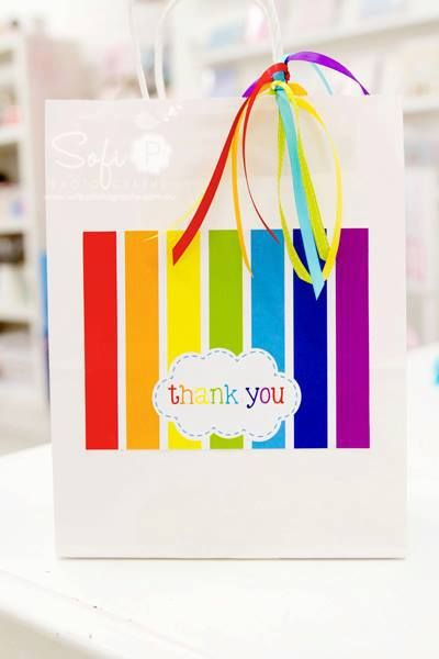 rainbow party favor bags