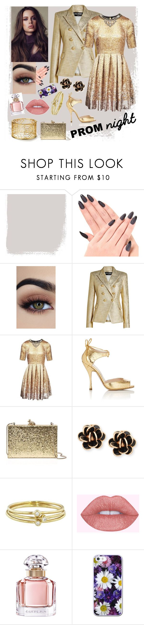 """""""A dazzling date."""" by tiffanyleannamoore ❤ liked on Polyvore featuring Balmain, Matthew Williamson, Nina Ricci, Kate Spade, Chantecler, Jennifer Meyer Jewelry and Guerlain"""
