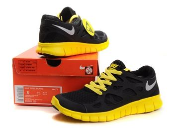 nike free run 2 mens black yellow