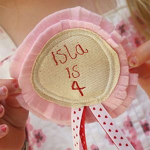 Birthday Fabric Rosette Badge Personalised - Not on the High Street