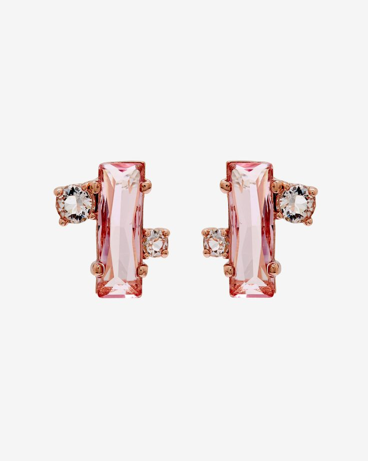 SOMETHING PINK: Whether the bride needs a sparkly finishing touch or bridesmaids want to share a special accessory, Ted's BRIA crystal earrings are a trinket to treasure on your wedding day. Looking for something blue? The earring comes in blue and clear crystals to ensemble the perfect bridal look.