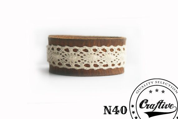 Handmade Leather Lace Bracelet Cuff - Wristband Cuff - Women Bracelet - Rustic, Country Design - Made to Order - Craftive Design by CraftiveLeather on #Etsy