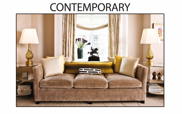 Contemporary в интерьере  Этот стиль зародился в 60-х и стал миксом простоты, эстетики и скандинавского функционализма. В нем сочетаются минимализм, новая классика, ар-деко, кантри, футуристичная мебель хай-тек и роскошные произведения искусства. Для Contemporary характерны гладкие формы, немногочисленные аксессуары, однотонные светлые потолки и стены, простые окна и двери. Используются натуральные ткани: шерсть, лен, хлопок. Освещение обычно скрытое — подсвеченные ниши, стены или предметы…