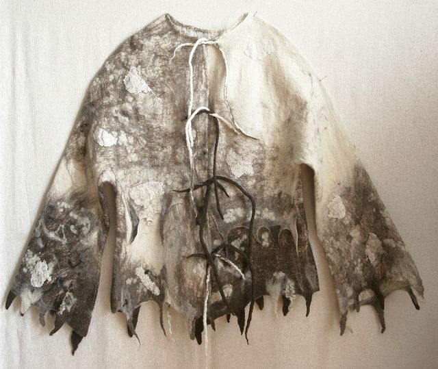 Nuno felted seamless jacket of undyed natural wool and cotton