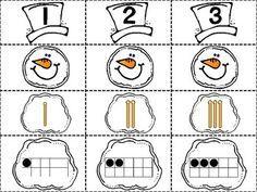 Snowman Numbers 1-20 Match FREEBIE