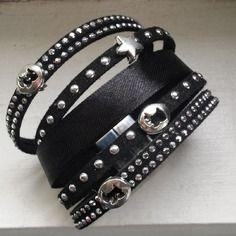 Manchette bracelet fashion noire argent