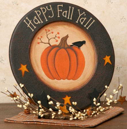 Primitive Happy Fall Y'all Decorative Plate