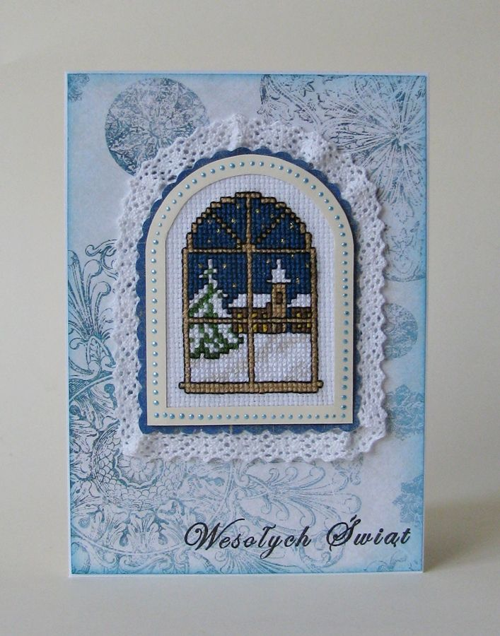 Card window with winter landscape.