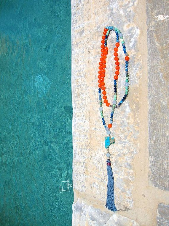 Summer sunset  Long  rosary style necklace with Agate by sivylla