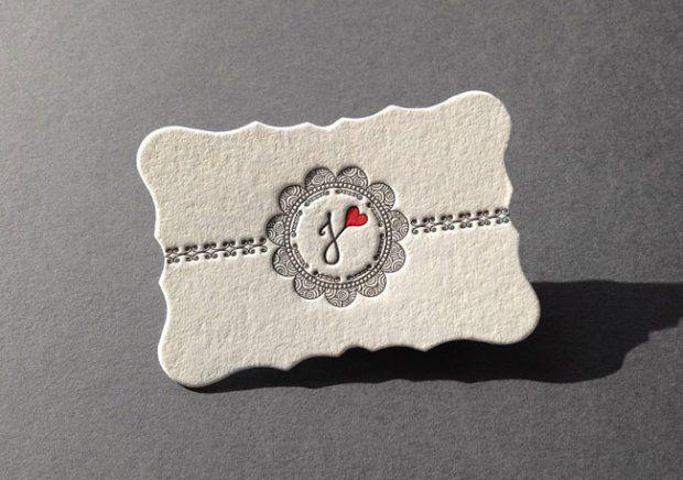 die cut letterpress business card 620x436 Unique Letterpress Business Cards