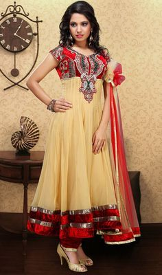 Beige Brown and Brick Red Velvet Chudidar Suit Price: Usa Dollar $235, British UK Pound £137, Euro172, Canada CA$250 , Indian Rs12690.