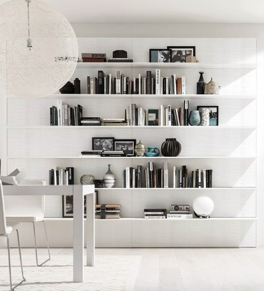 Sectional wall-mounted wooden storage wall HORIZON + e45 by @Gruppo Euromobil  #interiors #minimal #wall #books