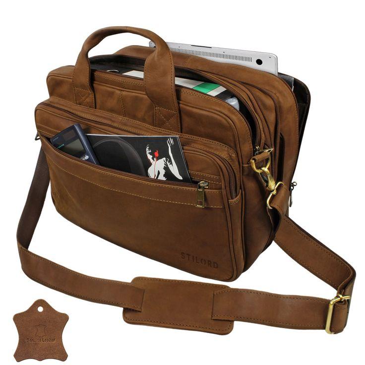 STILORD Umhängetasche Herren Ledertasche Aktentasche Schultertasche Lehrertasche Notebooktasche Laptoptasche Unitasche Collegetasche echtes Büffel-Leder braun 001