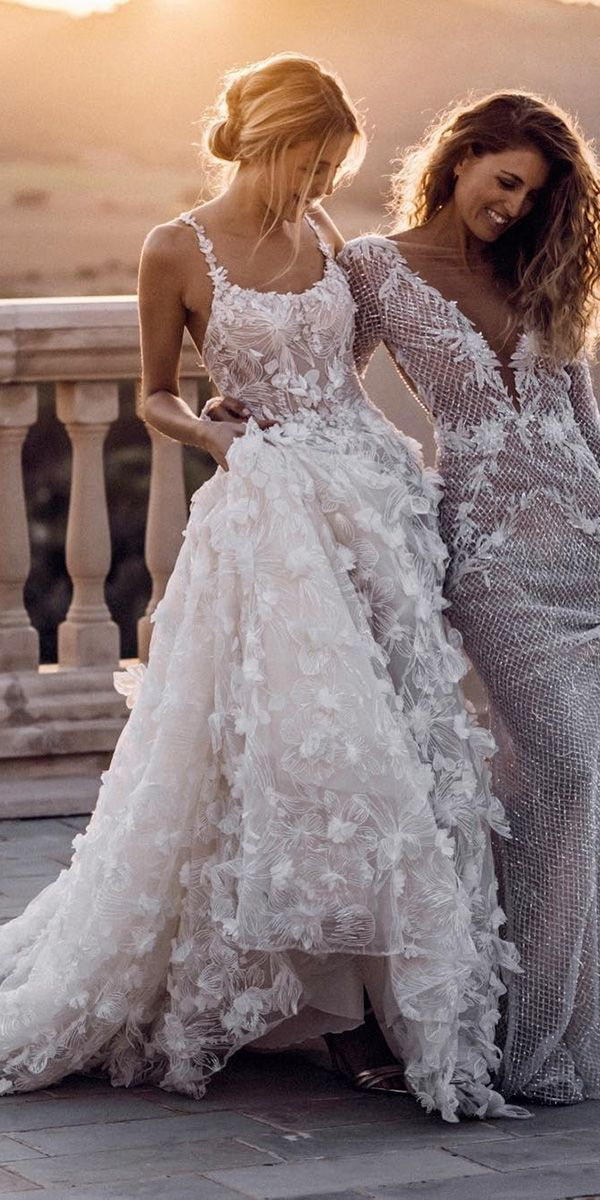 wedding dress designers a line floral appliques blush romantic galia lahav