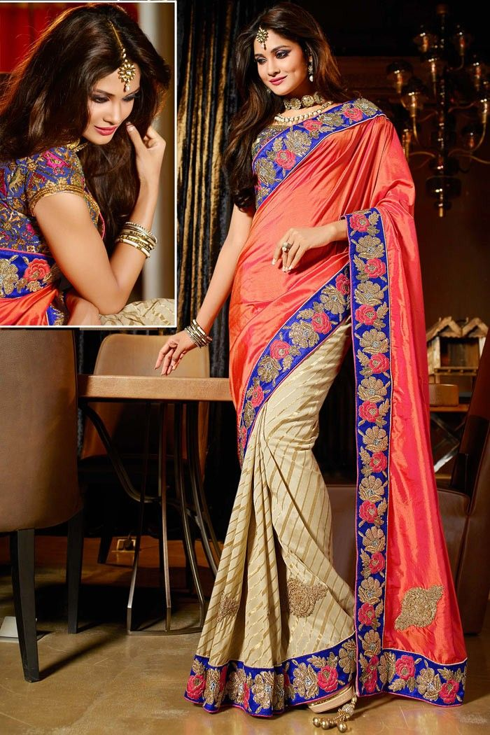 Cream Crepe Indian #Silk #Wedding #Saree with Blouse
