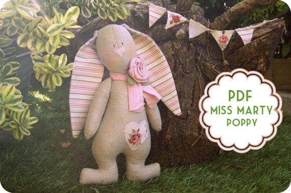PDF Rabbit, Bunny PDF Sewing Pattern, instant download - Make your Miss Marty Poppy