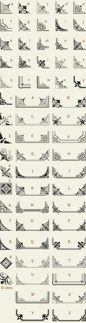 Letterhead Fonts / LHF Corner Specimens / Scrolls and Borders by dawnereed