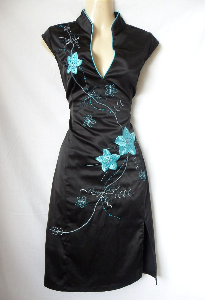 Jane Norman Black Satin Oriental Chinese Embroidered Pencil Evening Dress Uk 12 Fashion Clothing Shoes Accessori Evening Dresses Uk Dresses Evening Dresses