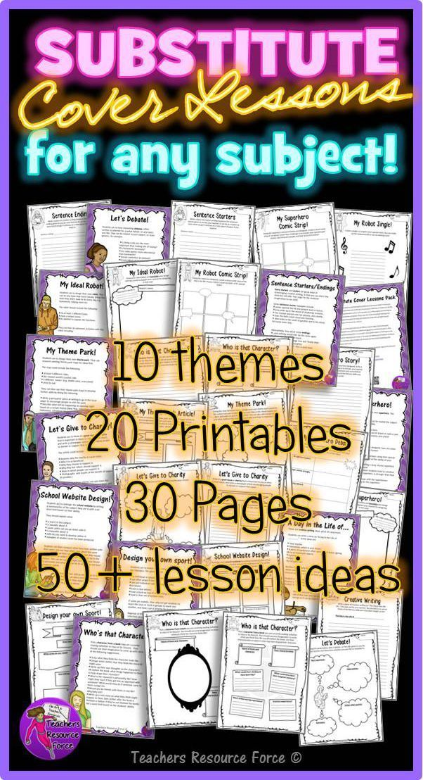 Substitute Cover Lesson Ideas for teens - over 50 lesson ideas!