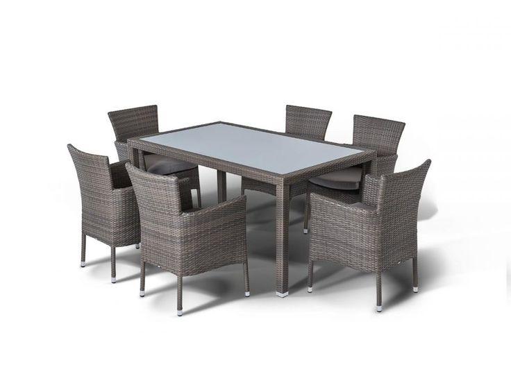 Обеденная группа на 6 персон, стол со стеклянной столешницой толщиной 5 мм., алюминиевый каркас, искусственный ротанг. Все стулья с подлокотниками и подушкой. Алюминиевый каркас, искусственный ротанг, плетение плоское.