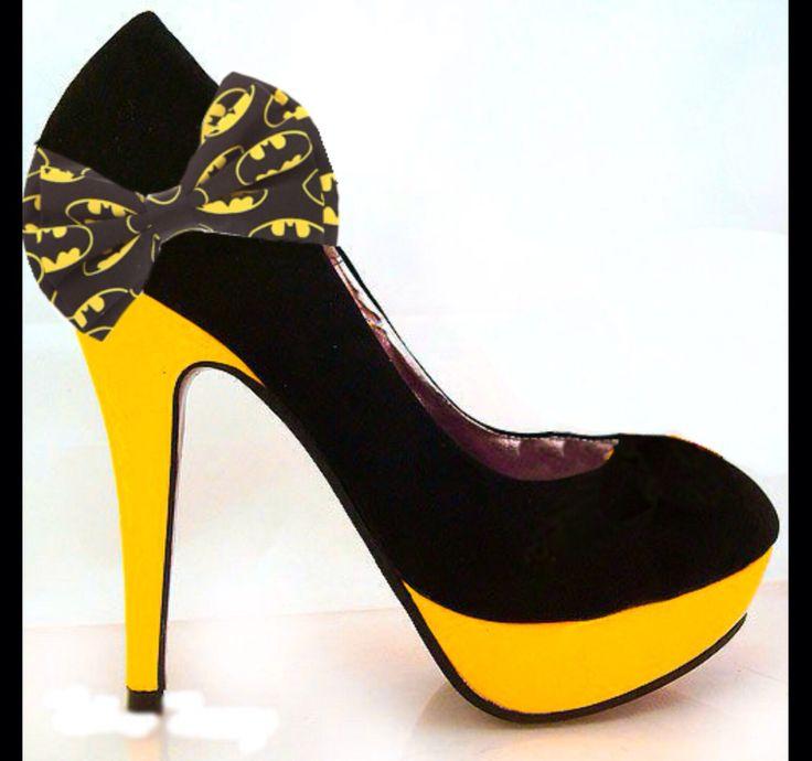 BATMAN batgirl yellow black girly bow high heel stiletto shoes HandMade wedding bride groom matching bow tie by CrystalCleatss on Etsy https://www.etsy.com/listing/227799921/batman-batgirl-yellow-black-girly-bow