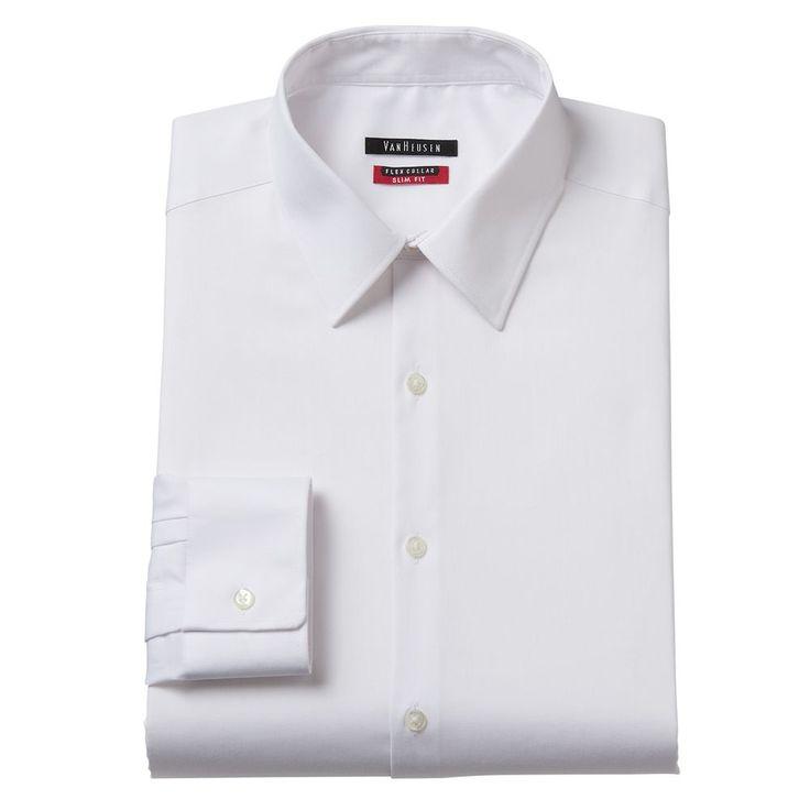 Men's Van Heusen Slim-Fit Flex Collar Stretch Dress Shirt, Size: 17.5-32/33, White