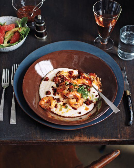 Grilled Shrimp and Grits with Chorizo and Salsa de Arbol Recipe