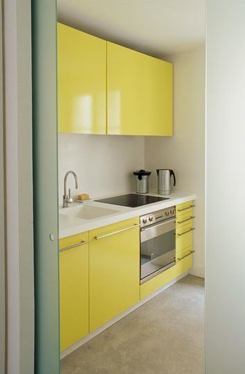 How Cheerful And Unexpected Is This Tiny Yellow Kitchen? Tiny Homes Part 34