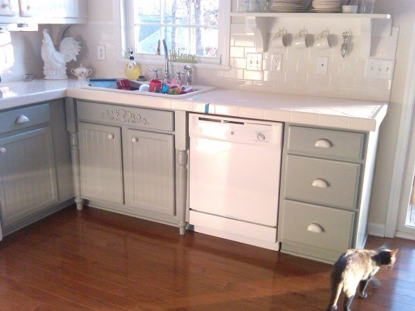 Nice Painting Door And Drawer Old Oak Kitchen Cabinet Combined With White  Appliances And White Ceramic Backsplash For Small Rustic Kitchen Spaces  With Brown ...