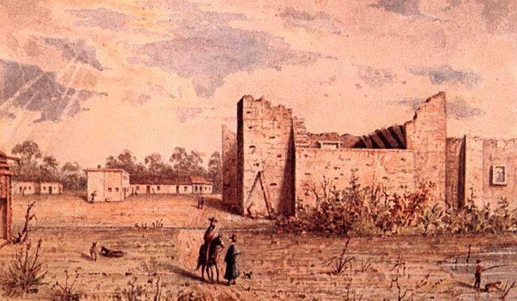 Arthur T Lee Ca 1848 Watercolor View Of Alamo Ruins In