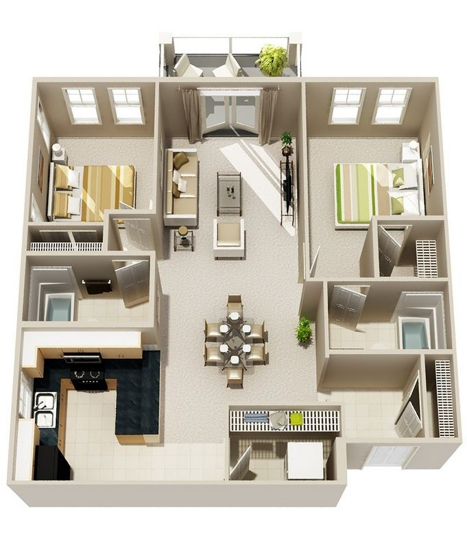 Best 25 2 bedroom apartments ideas on pinterest 3 for Two kitchen house plans