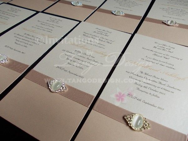 Vogue Wedding Invitation by www.tangodesign.com.au with pearl A grade crystal #latteweddinginvites #pearlcrystalwedding #Crystalinvitations #broochinvitations