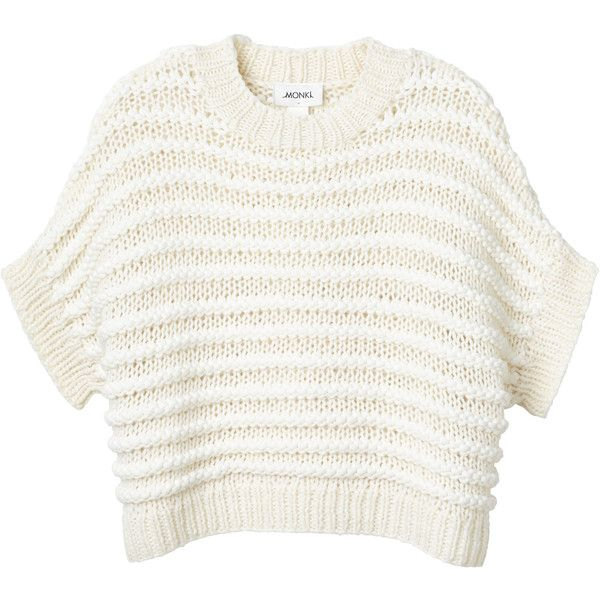 Monki Wave knitted top ($61) ❤ liked on Polyvore featuring tops, drew in white, white tops, white pullover, cable pullover, white batwing top and sweater pullover