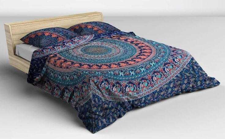 Indian Queen Mandala Tapestry with 2 Pillow Cover Ethnic Cotton Hippie Bed Cover #Unbranded #ArtDecoStyle #BedspreadBedsheetWallHanging