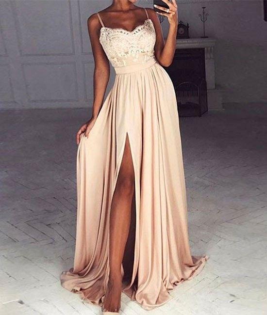 A line Spaghetti Straps Light Champagne Slit Prom Dress ...