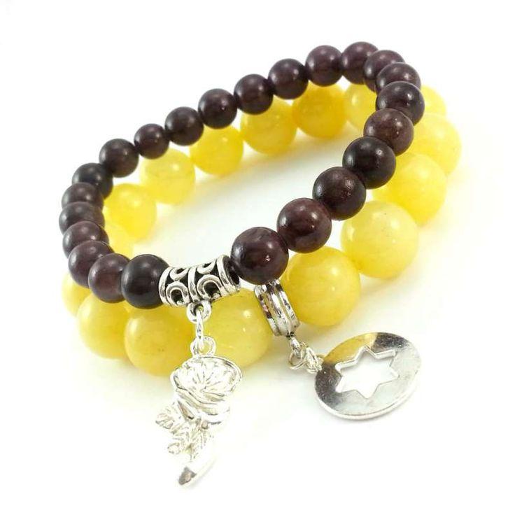 Bransoletki z kamieni naturalnych żółtego jadeitu z gwiazdą i brązowym marmurem z różą.